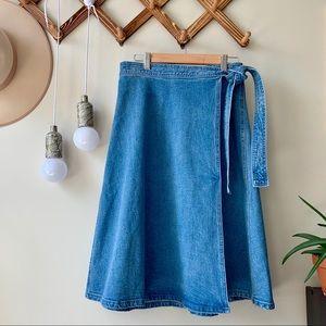 Kate Spade Vintage Denim Wrap Midi Skirt